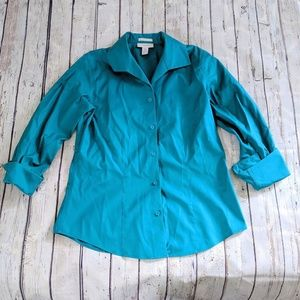 Teal Chico's Button Down Blouse